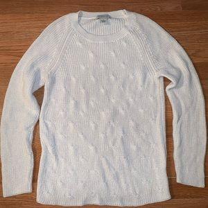 White pointelle sweater